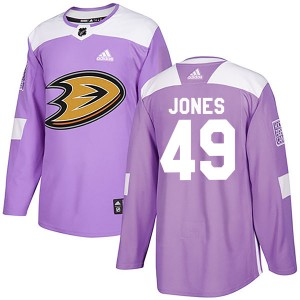 Max Jones Youth Adidas Anaheim Ducks Authentic Purple Fights Cancer Practice Jersey